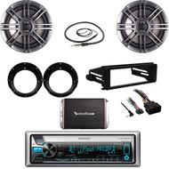 Bluetooth Kenwood Stereo, 98-2013 FLHT Install DIN Kit, Antenna, Amp,Speaker Set