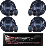 "Pioneer CD Radio Receiver AUX Input Wireless Remote LCD Display with LED Backlight 50Watts x 4 Channel output Detachable Face Plate , 2 Pairs 300W Peak Power 6.5"" 2-Way 4 Ohms ATS Series Component Car Speakers"