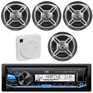"Package Bundle Kit Includes: 1 JVC KD-X35MBS Bluetooth Stereo USB/AUX Receiver Unit + 4x (2 Pairs) of Enrock EKMR1672B 6-1/2"" Inch Charcoal / Silver Marine Speakers + 1 Dual XGPS10M Boat Bluetooth Wireless GPS Receiver"
