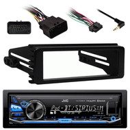 Metra Harley 98-2013 FLHT Install Kit, JVC Bluetooth USB AUX AM FM Car Receiver