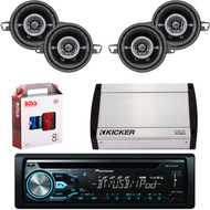 "DEH-X4900BT Bluetooth CD MP3 USB Player & Remote, 4 X Kicker 3.5"" Coaxial Car  Speakers, Kicker 4-Channel 400 Watts Marine Amp, 8 Gauge Car Amp Install Kit"