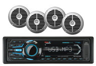 "MR1308UABK Marine Bluetooth USB iPod Aux AM FM Radio&6 Silver 6.5"" Boat Speakers"