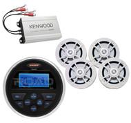 "Kenwood Marine Amplifier,2 Kenwood 6.5""Speakers,Jensen Marine AMFM USB AUX Radio"
