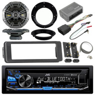 JVC Bluetooth CD Radio, Kicker Speaker Set, Harley 98-2013 FLHTC FLHX Dash Kit