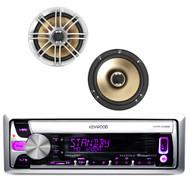 "2 Silver Polk 6.5"" 330W Speaker Set, Kenwood iPod AUX Mp3 CD USB Marine Receiver"