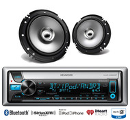"2 Kenwood 6.5"" 2Way Coaxial Speakers, Kenwood Bluetooth iPod iPhone CD USB Radio"