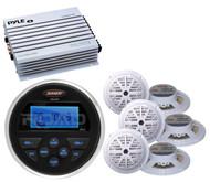 """400W Amplifier, Jensen USB AUX AM FM Marine Radio, 6 White 5.25"""" Marine Speakers"""