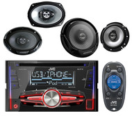 "JVC KWR710 CD USB iPod AUX Mp3 Car Receiver, Kenwood 6.5"" & 6x9"" Car Speaker Set"