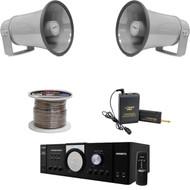 """PT110 PA Pyle Mono Amplifier,Lavalier Mic Set, Speaker Wire,8.1"""" 50W PA Speaker"""