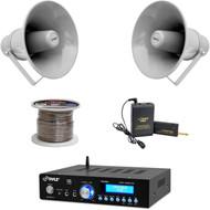 """USB Bluetooth PA Mini Amplifier,9.7"""" Horn Speakers,Lavalier Mic Set,Speaker Wire"""