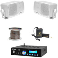 "PA USB Bluetooth Amplifier,Lavalier Mic Set,3.5"" Mini Box Speakers, Speaker Wire"