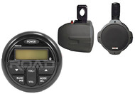 "Marine 6.5"" Black Wakeboard Speaker Milennia Marine USB AM FM Bluetooth Receiver"