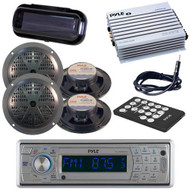 New PLCD5MRBTS Indash Marine Radio Player/ Bluetooth 400W Amp 4 Speakers /Cover