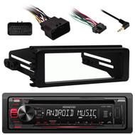 99-9600 Harley Install Single Din FLHX Kit, KDC125U USB CD AM FM Car Receiver