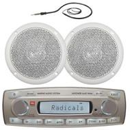 "4 x 45 Watt JBL MR18.5 AM/FM Radio Waterproof Marine Stereo Receiver , Magnadyne WR45W 5"" Dual Cone Waterproof White Marine Boat Outdoor Speaker, EKMR1 Enrock Marine Black Wire Antenna"