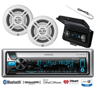 "White Dual 6.5"" Marine Speakers, Kenwood Bluetooth USB CD Radio, Antenna, Cover"