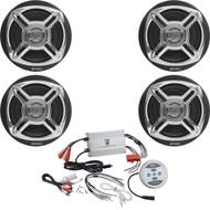 """4 Enrock Chrome 6.5"""" 100W Marine Speakers, 1200W 4-Channel Marine Boat Amplifier"""