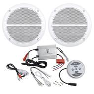 """Pyle Bluetooth Marine 600W 2Channel Amplifier, 6.5"""" 250W Enrock Marine Speakers"""