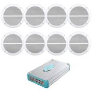 """Lanzar 4800W Marine Bluetooth 8 Channel Amplifier, 8 Marine 6.5"""" White Speakers"""