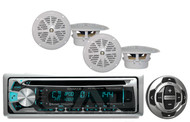 "Kenwood CD USB AUX Bluetooth iPod Radio,Wired Remote& 4- 4""White Marine Speakers"