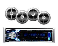 "Kenwood Marine Car USB SiriusXM Ready Bluetooth Receiver, 4 Silver 6.5"" Speakers"