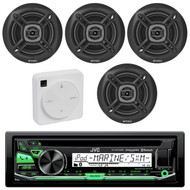"Package Bundle Kit Includes: 1 JVC KD-R97MBS Bluetooth Stereo USB/AUX CD Player Receiver Unit + 4x (2 Pairs) of Enrock EKMR1672B 6-1/2"" Inch Black Marine Speakers + 1 Dual XGPS10M Boat Bluetooth Wireless GPS Receiver"