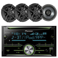 Pioneer FH-X731BT 2-Din AM/FM/CD/iPod Receiver, Kicker 43CSC654 6.5 inch 300-Watt 2-Way Car Coaxial Speakers