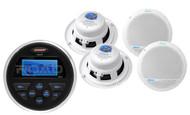 """4 White Marine 5.25"""" Speakers, Jensen Round MS30 Marine USB AUX AM FM Receiver"""