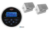 "MS30BTR Marine Bluetooth USB AUX Receiver, 2 White 3.5"" 200W Box Marine Speakers"