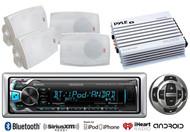 """Marine 4"""" Speaker Set, Kenwood Bluetooth USB Radio/Remote, 400W Marine Amplifier"""