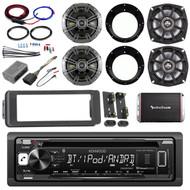 Harley Scosche FLHTC Adapter Kit, Bluetooth Radio, Amplifier, Kicker Speaker Set