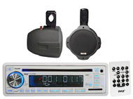 "Pyle Boat Marine USB CD AUX AM FM Receiver,2 Black 6.5"" 200W Wake Board Speakers"