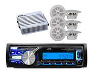 "New JVC Boat  Marine USB AUX Bluetooth Receiver, 6 x 4"" White Speakers, 400W Amp"