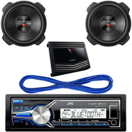 "JVC KD-X35MBS iPod & Android Digital Media Bluetooth Marine, Powersport Car Receiver, Kenwood 12"" 2000w Max Subwoofer KFC-W3016PS, Kenwood Class D Monoblock Amplifier 1000W Max, 14 Gauge 50 Foot Speaker Wire"