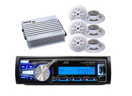 "Marine In Dash JVC AUX USB AM/FM Bluetooth Radio, 6 x 5.25"" Speakers, 400W Amp"