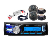 JVC Marine Bluetooth MP3 AUX USB iPhone Radio,4 Black Speakers,Antenna, 800W Amp
