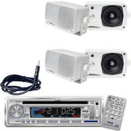 Pyle In Dash Boat Stereo Radio CD MP3 Receiver+ Weather Proof Speakers+ Antenna