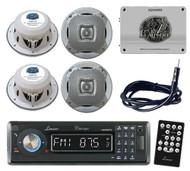 Lanzar AQCD60BTB Marine CD/MP3 AM/FM Stereo /Bluetooth 4 Spkr 1800W Amp /Antenna
