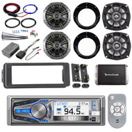 Dual CD Bluetooth Harley FLHT Adapter Kit, Amplifier and Kit, Kicker Speaker Set