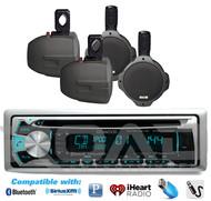 """Kenwood Bluetooth AUX CD Marine USB Radio,4 Black Marine 6.5""""Wake Board Speakers"""