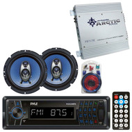 """Pyle USB Bluetooth AUX SD Radio, 6.5"""" Car Speakers, 2Channel Amplifier/Wire Kit"""