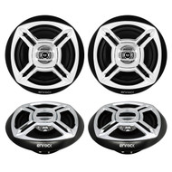 "Enrock Marine Boat 6.5"" Inch Dual-Cone Black/Chrome Stereo Speakers"