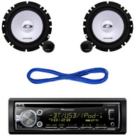 Pioneer DEHX6900BT CD/MP3 Bluetooth Receiver Aux Input USB Multicolor Illumination With Remote, 14 Gauge 50 Foot Speaker Wire, Pair Alpine Type-E Series SXE-1750S Car Audio 6.5-Inch Component 2-Way car Speakers System