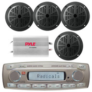 4 x 45 Watt JBL MR18.5 AM/FM Radio Waterproof Marine Stereo Receiver, Pyle PLMR51B 100 Watts 5.25'' 2 Way Marine Speakers, PLMRMP3A Pyle 4 Channel Waterproof MP3/ Ipod Marine Power Amplifier (White)
