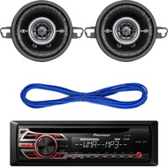 "Pioneer DEH150MP CD MP3 Playback AM/FM Radio Single Din Car Receiver with Remote, Kicker DSC35 (41DSC354) 3-1/2"" D-Series Coaxial 2-Way Car Speakers With 1/2"" Tweeters, 14 Gauge 50 Foot Speaker Wire"