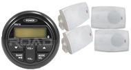"4"" Marine 2Way Box Speakers, Milennia Marine PRV19 Bluetooth USB AM FM Receiver"