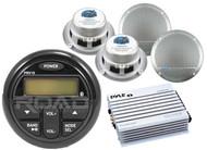 "Marine Bluetooth USB AM FM Milennia Radio, 400W Amplifier, 5.25"" Marine Speaker"