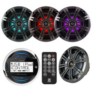 "MGH20 Marine 4"" iPod iPhone USB Player, 4 Kicker Multi Color LED 6.5""Speaker Set"