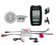 "New Marine Bike Boat Outdoor 2Channel iPod MP3 Input Amplifier,4"" White Speakers"