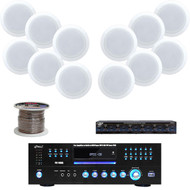 """Pyle PD1000A USB DVD Receiver,5.25"""" In-Ceiling Speaker Set,Speaker Selector,Wire"""